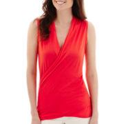 Liz Claiborne® Sleeveless Wrap T-Shirt