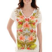 Liz Claiborne® Short-Sleeve Floral Woven T-Shirt