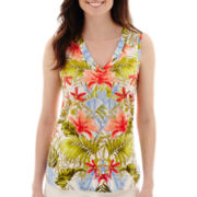 Liz Claiborne® Tropical High-Low V-Neck Tank Top