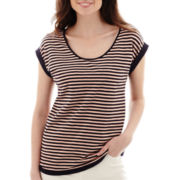 Liz Claiborne® Cuffed-Sleeve Striped T-Shirt