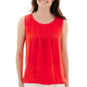 Liz Claiborne® Sleeveless Pleated Front Shell