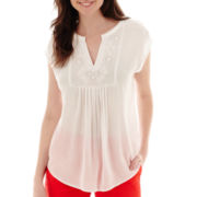 Liz Claiborne® Short-Sleeve Popover Top