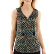 Liz Claiborne® Smocked Tie-Neck Tank Top