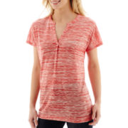 Liz Claiborne® Short-Sleeve Extended Shoulder Melange Tunic T-Shirt