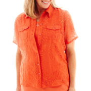 Alfred Dunner® Short-Sleeve Geometric Print Burnout Layered Top