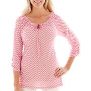 St. John's Bay® 3/4-Sleeve Roll-Tab Jacquard Top - Petite