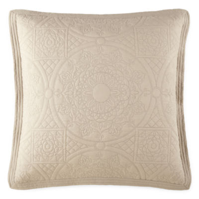 """Details about  /Jcp Home Expressions Emma Quilted Euro Sham 26""""x26"""" Coral Ridge"""
