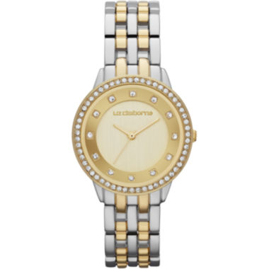 jcpenney.com | Liz Claiborne® Womens Two-Tone Crystal-Accent Bracelet Watch
