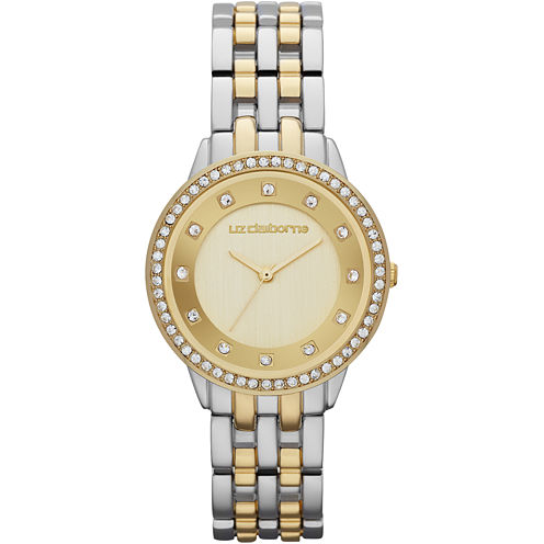 Liz Claiborne® Womens Two-Tone Crystal-Accent Bracelet Watch