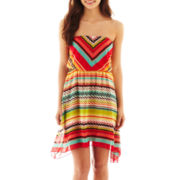 Ruby Rox® Strapless Blouson Print Dress