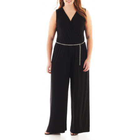 MSK Sleeveless V-Neck Jumpsuit - Plus