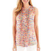 Liz Claiborne Sleeveless Floral Pintucked Blouse
