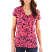 Liz Claiborne® Short-Sleeve Palm Print Tee - Tall