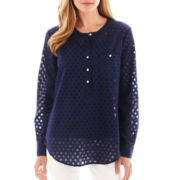 Liz Claiborne Long-Sleeve Dot Blouse