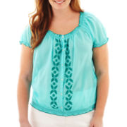 St. John's Bay® Short-Sleeve Peasant Top - Plus