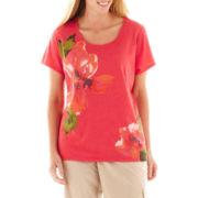 St. John's Bay® Floral Print Tee - Plus