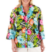 Alfred Dunner® St. Barth's 3/4-Sleeve Floral Geometric Blouse - Plus