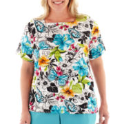 Alfred Dunner® St. Barth's Floral Butterfly Ruffled Top - Plus