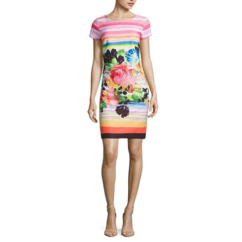 Robbie Bee Short Sleeve Sheath Dress-Petites