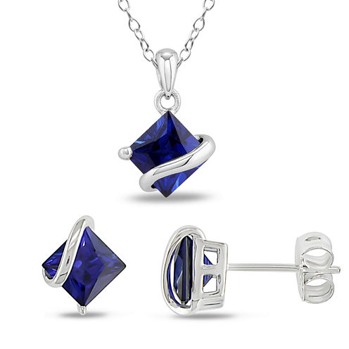 Womens 2-pc. Blue Sapphire Sterling Silver Jewelry Set