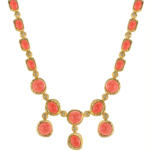 KJL by KENNETH JAY LANE Simulated Coral Bib Necklace