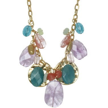 jcpenney.com | ROX by Alexa Pink & Green Gemstone Disc Necklace