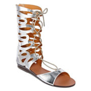 Nyla Meekus Strappy Lace-Up Sandals