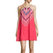 Love Reigns Spaghetti-Strap Embroidery Print A-Line Dress- Juniors
