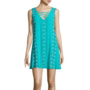 Love Reigns Sleeveless Lace-Up Embroidered A-Line Dress- Juniors