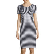 Spense Short-Sleeve Stripe T-Shirt Dress