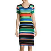 Spense Short-Sleeve Stripe T-Shirt Dress