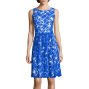 RN Studio by Ronni Nicole Sleeveless Floral Lace Fit-and-Flare Dress