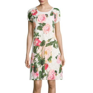 jcpenney.com | RN Studio by Ronni Nicole Cap-Sleeve Floral Print Lace Shift Dress