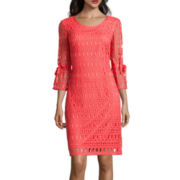 R&K Originals® 3/4-Sleeve Crochet Lace Shift Dress