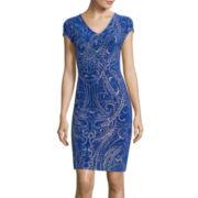 Blu Sage Cap-Sleeve Glitter Print Sheath Dress