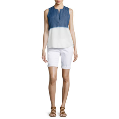 jcpenney.com | a.n.a® Split Back Placket Detail Tank Top or Denim Bermuda Shorts