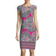 Liz Claiborne® Cap-Sleeve Paisley Shift Dress