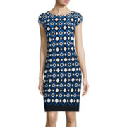 Liz Claiborne® Cap-Sleeve Diamond Shift Dress