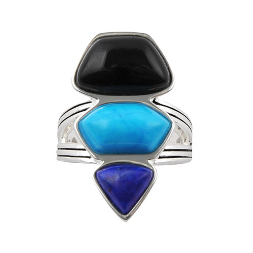 Art Smith by BARSE Genuine Blue Howlite Silver Over Brass Ring