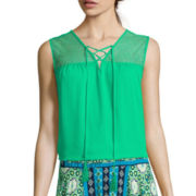 by&by Sleeveless Chiffon Lace-Up Top