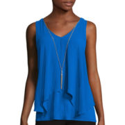 By & By Sleeveless Knit Split Front Woven Necklace Top