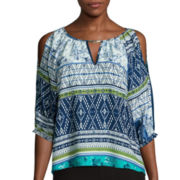 By & By 3/4-Sleeve Keyhole Print Peasant Top