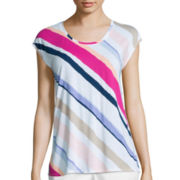 Liz Claiborne® Short-Sleeve Butterfly Back Stripe Tee