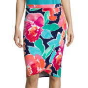 Liz Claiborne® Floral Knit Faux-Wrap Skirt - Tall