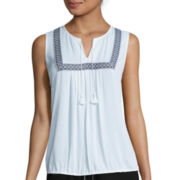 Liz Claiborne® Sleeveless Bib Front White Shell Top