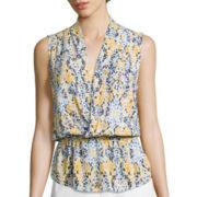Liz Claiborne® Sleeveless Wrap-Front Peplum Blouse