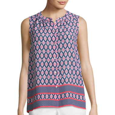 jcpenney.com | Liz Claiborne® Sleeveless Border Print Button-Front Shirt - Tall