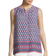 Liz Claiborne® Sleeveless Border Print Button-Front Shirt
