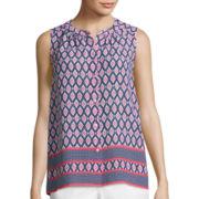 Liz Claiborne® Border Print Button-Front Shirt - Tall