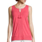 Liz Claiborne® Lace-Trim Tank Top - Tall